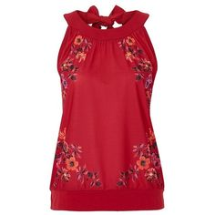 Floral spray sleeveless top ❤ liked on Polyvore featuring tops, shirts, red floral shirt, tie shirt, red top, summer tanks and floral tank top