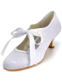 52568853f48 ElegantPark A3039-2 Women Pumps Closed Toe Mid Heels Mary Jane Prom Lace  Ribbon Tie Wedding Party Shoes  Amazon.co.uk  Shoes   Bags