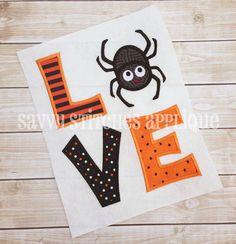 LOVE Spider Halloween Machine Embroidery Applique Design by SavvyStitchesDesigns on Etsy