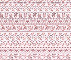 flower cross stich in red  heleenvanbuul