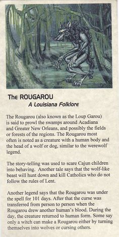 The Rougarou - (Roo ga roo) aka. Loup Garou, Louisiana folklore I know this thanks to Supernatural Legends And Myths, Urban Legends, Dark Legends, Mythological Creatures, Magical Creatures, Gods And Goddesses, Oeuvre D'art, New Orleans, Fairy Tales