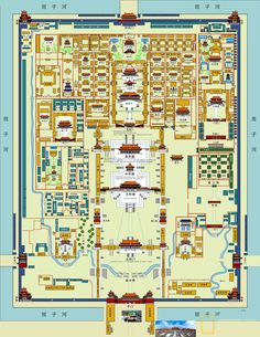 A useful map of Forbidden City in Beijing to help you discover the ancient palace. Chinese Buildings, Chinese Architecture, Ap Art History 250, City Layout, Fantasy Map, Beijing China, Ancient China, City Maps, China Travel