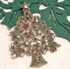 Sterling Silver Christmas Tree Pin with Gem Strones and Marcasite