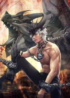Game character guy cool revenge+of+dragoon-blue eyes short hair dragon fantasy