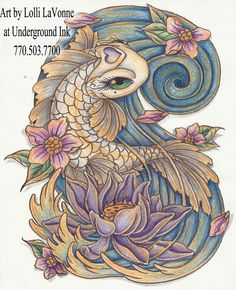 Girly Koi Fish Tattoos   Girly koi cb and lotus color by ~lavonne on deviantART