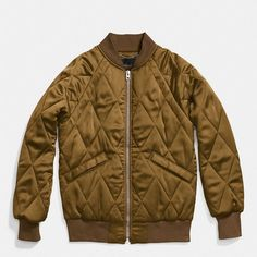 Coach Quilted Blouson Jacket ($495) ❤ liked on Polyvore featuring outerwear, jackets, brown, quilted jacket, collar jacket, lightweight bomber jacket, lightweight jackets and brown bomber jacket