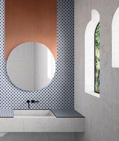 Fashion Your Bathroom With These Stylish Bathroom Mirrors - Badezimmer Amaturen Moroccan Bathroom, Modern Bathroom Tile, Minimalist Bathroom, Bathroom Interior Design, Bathroom Flooring, Bathroom Mirrors, Modern Bathrooms, Large Bathrooms, Bathroom Faucets