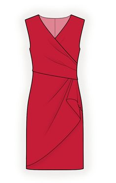 Dress With Decorative Wrap  - Sewing Pattern #4294 Made-to-measure sewing pattern from Lekala with free online download. Fitted, Darts, Waist seam, Pleats, Tucks, Zipper closure, Flounce, Wrap, V neck, No collar, No sleeves, Knee length, Straight skirt, No pockets