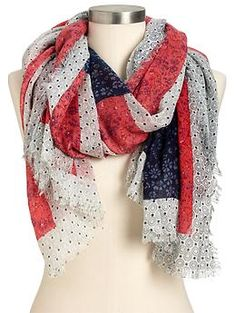 GORGEOUS! When opened up, it's an American Flag w. a polka-dotted white background. <3 Women's Americana-Pattern Scarves - oldnavy.gap.com