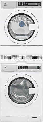 "Electrolux White Compact Laundry Pair with EIFLS20QSW 24"" Front Load Washer, EIED200QSW 24"" Electric Condense Dryer and STACKIT24 Stacking Kit in White"