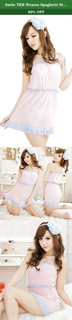 Smile YKK Women Spaghetti Strap Nightwear Dress Lingerie. Material:Acrylic Fiber Free size,suit for height 155-175cm,weight 40-65kg Adjustable straps,sexy sleepwear Special and modern design makes you more attractive and charming Sexy,outstanding,great temptation Comfortable to wear Item includes:1*dress+1*thong .