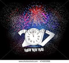 Happy New Year 2017 Firework and clock