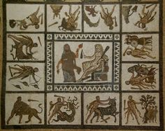 Mosaico de Los doce trabajos de Hércules. Primer tercio del siglo III. Liria