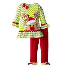 Kids 2016 Autumn Children Boutique Outfits Clothing Sets For Long-Sleeved Cartoon Fawn Little Girls Christmas Santa Ruffle Pants(China (Mainland))