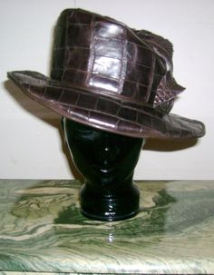 6b020fcf108 GENUINE ALLIGATOR Hat in Brown Alligator and by ChapeausbySharonD