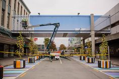 New Zealand artist Mike Hewson Builds a sblue-sky illusion of a bridge, clearing the forecast for a city in flux. Nasa, Pedestrian Bridge, Deconstruction, Optical Illusions, Business Design, Camouflage, Street View, Blue Skies, Design Inspiration