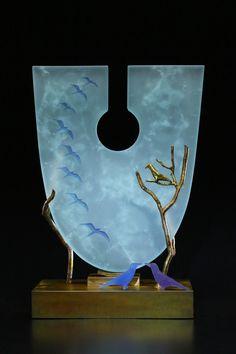 Through the Keyhole in Ice Blue by Georgia Pozycinski and Joseph Pozycinski (Art Glass & Bronze Sculpture) | Artful Home
