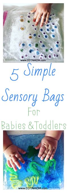 5 Simple Sensory Bags for Babies & Toddlers - COTA MOM and 🛍️ Geldbörsen und Taschen Sensory Activities, Infant Activities, Sensory Wall, Sensory Boards, Sensory Bins, Family Activities, Easy Toddler Crafts, Baby Crafts, Baby Sensory Bags