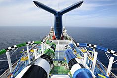 Duelling water slides onboard the Carnival Sunshine cruise ship