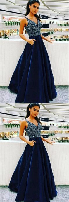 #RoyalBlue A-line Beading V Neck Satin Long #Prom Dress, #Graduation Party Dress P574 #ombreprom