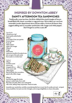 Downton Abbey Inspired Recipe: Dainty Afternoon Tea Sandwiches Serve with pots of freshly brewed tea in pretty teacups and saucers, a choice of lemon slices or milk, and enjoy! Tee Sandwiches, Finger Sandwiches, English Tea Sandwiches, High Tea Sandwiches, Afternoon Tea Parties, Afternoon Tea Recipes, Fortnum And Mason, Tea Party Bridal Shower, Pin On
