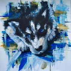 Hi,  Thank you for visiting my shop! This husky puppy is my first one from a series I call Agressive Cutenes in which I combine soft topics such as puppies and cute animals and contrast that with very aggressive background.  This is an original artwork on 20 x 20 0.8 deep. Stretched canvas,