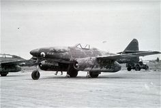 "Me262A-1a/U3 - W.Nr. 500453 - Tactical Number White Outline 25/""Connie the Sharp Article""/""Pick II""/US control number 444/FE-4012/T-2-4012.  At Melun, France."