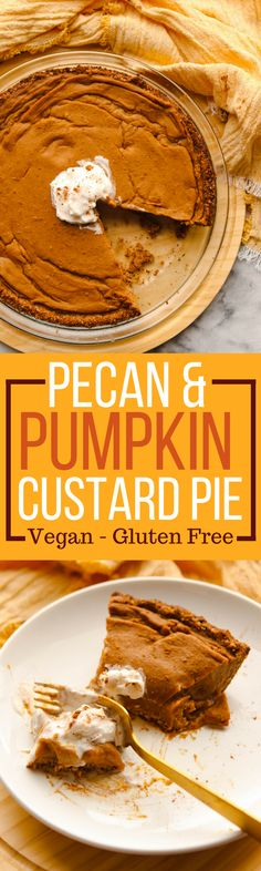 This Pumpkin Custard Pie has a delicious pecan & date crust and is the perfect healthy dessert to bring to a holiday meal! It's just like the classic, but dairy-free and gluten-free! Check out the fall recipe here! Delicious Vegan Recipes, Vegan Sweets, Healthy Dessert Recipes, Healthy Desserts, Delicious Desserts, Snack Recipes, Healthy Eats, Pumpkin Custard, Vegan Pumpkin