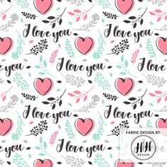 Valentine's Love Fabric by the Yard / Valentine's Day Floral Fabric / Quilting Cotton Fabric / I Love You Heart Print in Yard & Fat Quarter by HeatherHightDesign on Etsy