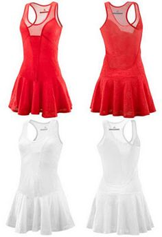 Women's Tennis Performance Dress from Adidas by Stella McCartney. It comes in white and red and is certainly a revealing piece in a modish manner, styled with the fusion of lace and mesh. Tennis Shop, Tennis Wear, Sporty Outfits, Athletic Outfits, Tennis Outfits, Tennis Fashion, Adidas Fashion, Netball Dresses, Sports Dresses