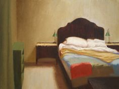 "Oil painting of interior, ""Our Room"" by Weston Hobdy - oil on panel, 18x24 inches (sold)"