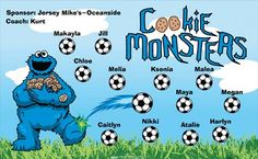 Monsters-Cookie-40676 digitally printed vinyl soccer sports team banner. Made in the USA and shipped fast by BannersUSA. www.bannersusa.com