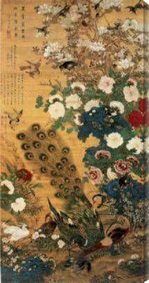 Asian painting peacocks