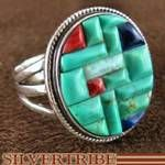 Genuine Sterling Silver Turquoise and Multicolor Ring