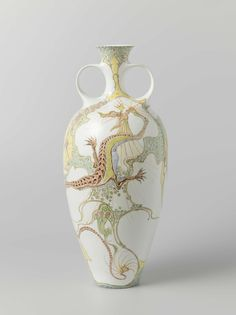Vaas van porselein versierd met draak, N.V. Haagsche Plateelfabriek Rozenburg, J.L. Verhoog, 1900