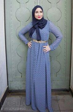 Nice blue maxi dress ... Hijab style .