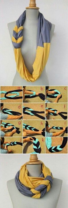 Cute Braided Scarf Made from Old T-shirts – DIY [video] (Ropa Diy Ideas) Diy Old Tshirts, Old T Shirts, Upcycle Shirts, Button Shirts, Nice Shirts, Cut Shirts, Scarf Shirt, Diy Shirt, Shirt Scarves