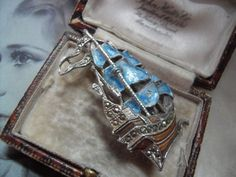 Vintage 1950s   enamel marcasite ship brooch