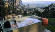 Outdoor bathtub with a view