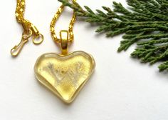 Heart necklace, Gold Heart Necklace, love Necklace, Valentine's necklace, fossil necklace, heart pendant, gold heart pendant, gold heart by TheJeremiahTreeGlass on Etsy