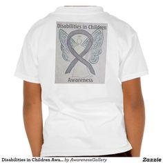 Disabilities in Children Silver Awareness Ribbon Angel Tee Shirt