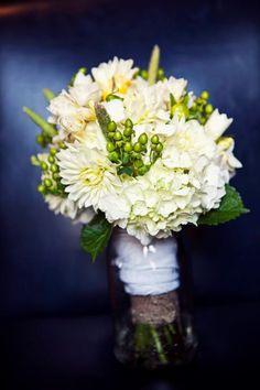 wedding flowers, wedding bouquet, bridal bouquet, hydrangea, barn wedding   (oncelikeaspark.com)
