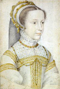 François Clouet, Mary as a young girl (12-13), circa 1552-57. c1555. Clouet was court painter to Mary's father-in-law, King Henry II of France. As such, he sketched and painted Mary several times. Other artists often imitated his style.