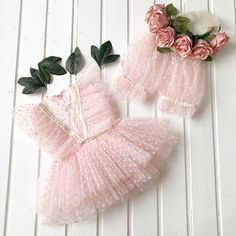Baby girl photo prop outfit made from soft Tull and lace. Blouse and short pants and matching flower bow headband. #babyheadbands #babyblouse