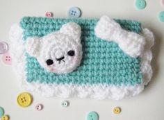 Kawaii crochet - white bear with bow - coin purse - mini wallet. $18.00, via Etsy.