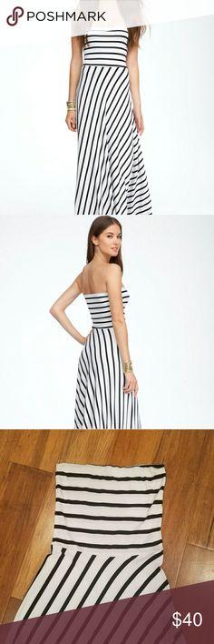 Bebe black and white maxi dress XS Beebe maxi dress,  black and white.  Size XS. Very flattering cut.  Worn once. bebe Dresses