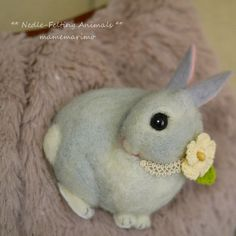Pretty felted bunny with flower collar...  うさぎのブローチ