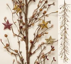 """Primitive Pip Berry and Tin Stars Garland Branch 67"""" Long in Tan and Sage - Perfect for Primitive Country Decor. by Your Hearts Desire, http://www.amazon.com/dp/B00948V3VE/ref=cm_sw_r_pi_dp_SAo9qb0HP83HP"""