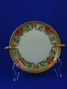 "Uno Favorite Bavaria Arts & Crafts Poppy Motif Handled Serving Plate (Signed ""M. Perl""/c.1910-1930)"