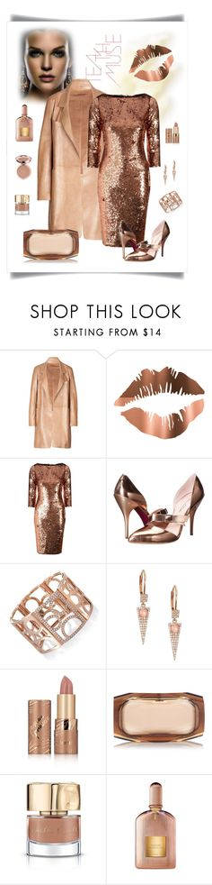"""""""Alice + You Copper Sequin Dress Look"""" by romaboots-1 ❤ liked on Polyvore featuring Anastasia, Donna Karan, Alice & You, Oscar de la Renta, Meira T, tarte, Benedetta Bruzziches, Smith & Cult and Tom Ford"""